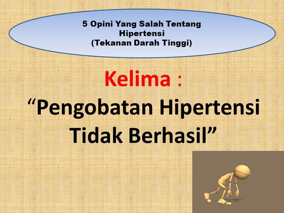 """Kelima : """"Pengobatan Hipertensi Tidak Berhasil"""" 5 Opini Yang Salah Tentang Hipertensi (Tekanan Darah Tinggi)"""