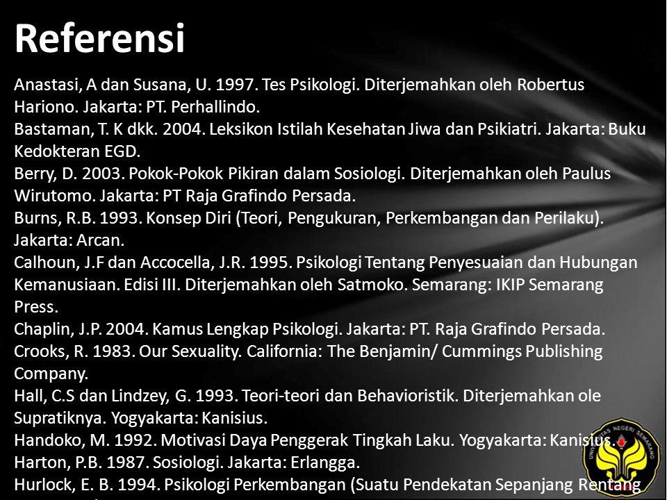 Referensi Anastasi, A dan Susana, U. 1997. Tes Psikologi. Diterjemahkan oleh Robertus Hariono. Jakarta: PT. Perhallindo. Bastaman, T. K dkk. 2004. Lek