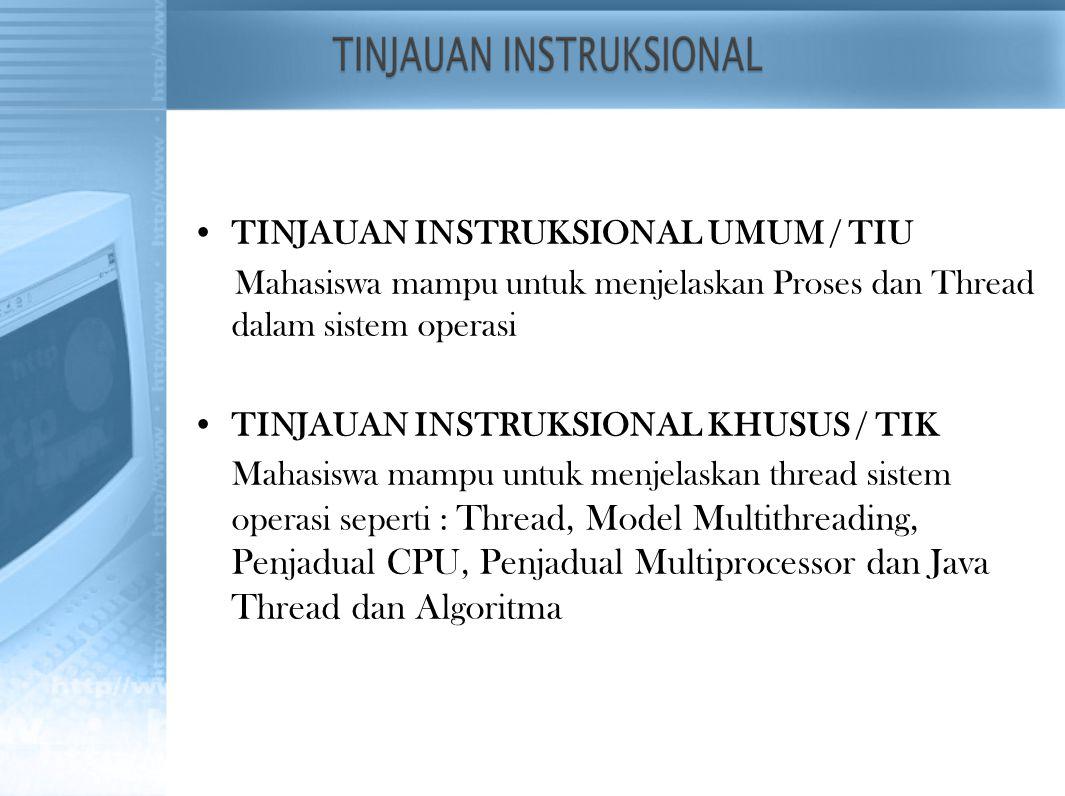 TINJAUAN INSTRUKSIONAL UMUM / TIU Mahasiswa mampu untuk menjelaskan Proses dan Thread dalam sistem operasi TINJAUAN INSTRUKSIONAL KHUSUS / TIK Mahasis