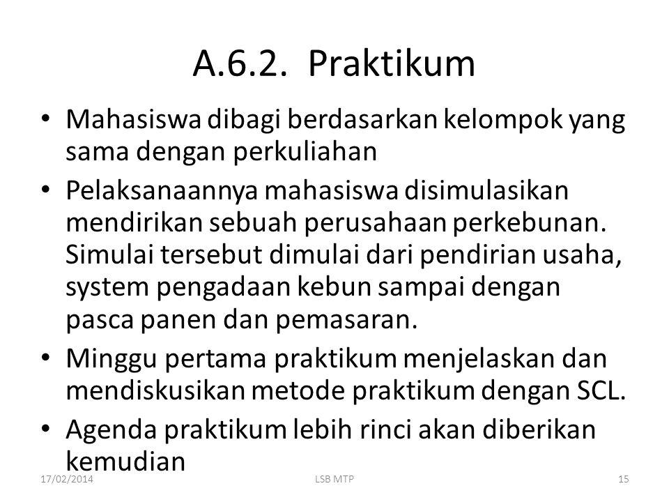A.6.2. Praktikum Mahasiswa dibagi berdasarkan kelompok yang sama dengan perkuliahan Pelaksanaannya mahasiswa disimulasikan mendirikan sebuah perusahaa