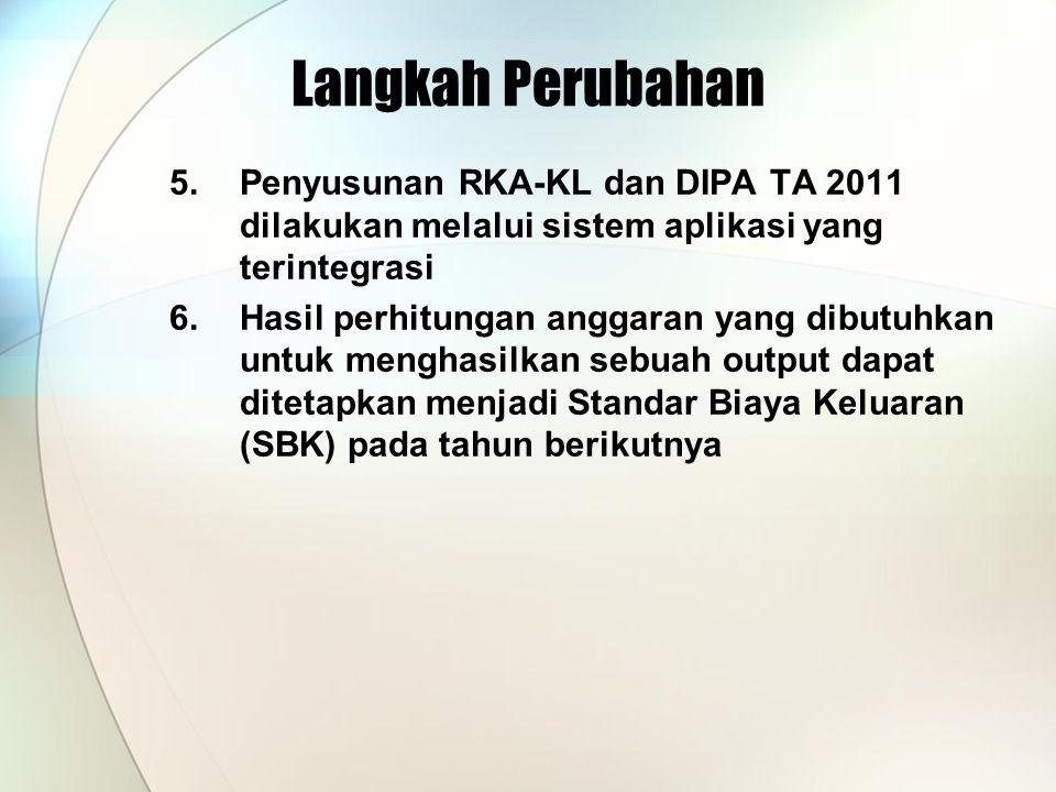Langkah Perubahan 5.Penyusunan RKA-KL dan DIPA TA 2011 dilakukan melalui sistem aplikasi yang terintegrasi 6.Hasil perhitungan anggaran yang dibutuhkan untuk menghasilkan sebuah output dapat ditetapkan menjadi Standar Biaya Keluaran (SBK) pada tahun berikutnya