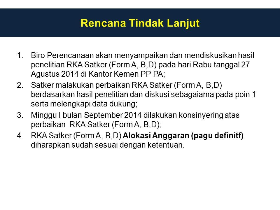 1.Biro Perencanaan akan menyampaikan dan mendiskusikan hasil penelitian RKA Satker (Form A, B,D) pada hari Rabu tanggal 27 Agustus 2014 di Kantor Keme