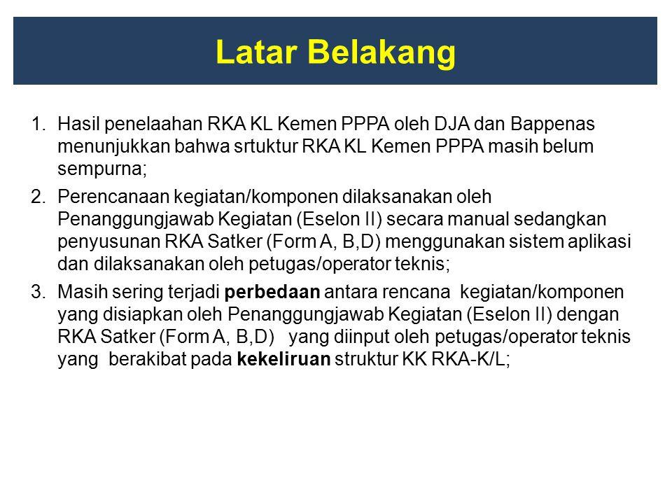 Latar Belakang 1.Hasil penelaahan RKA KL Kemen PPPA oleh DJA dan Bappenas menunjukkan bahwa srtuktur RKA KL Kemen PPPA masih belum sempurna; 2.Perenca
