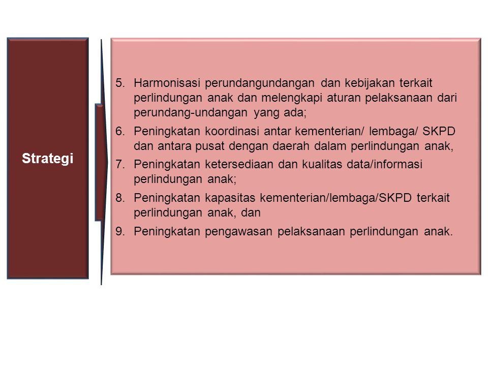 5.Harmonisasi perundangundangan dan kebijakan terkait perlindungan anak dan melengkapi aturan pelaksanaan dari perundang-undangan yang ada; 6.Peningkatan koordinasi antar kementerian/ lembaga/ SKPD dan antara pusat dengan daerah dalam perlindungan anak, 7.Peningkatan ketersediaan dan kualitas data/informasi perlindungan anak; 8.Peningkatan kapasitas kementerian/lembaga/SKPD terkait perlindungan anak, dan 9.Peningkatan pengawasan pelaksanaan perlindungan anak.