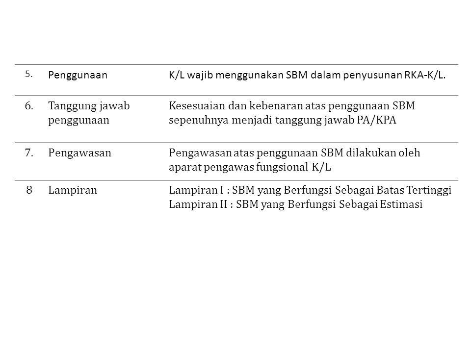 5.PenggunaanK/L wajib menggunakan SBM dalam penyusunan RKA-K/L.