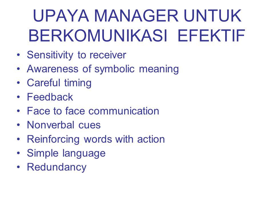 UPAYA MANAGER UNTUK BERKOMUNIKASI EFEKTIF Sensitivity to receiver Awareness of symbolic meaning Careful timing Feedback Face to face communication Non