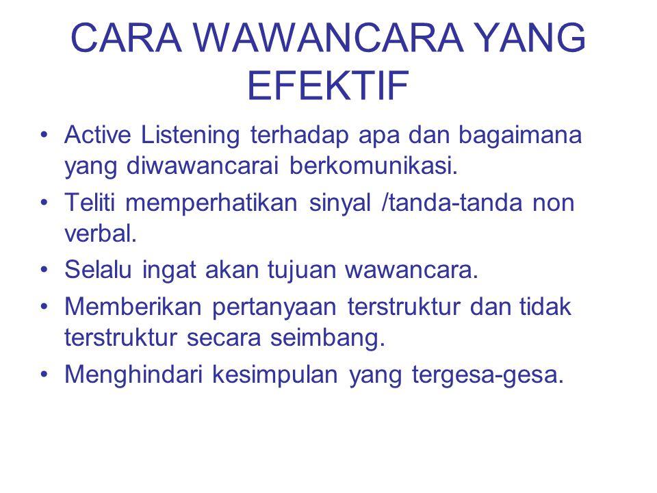 CARA WAWANCARA YANG EFEKTIF Active Listening terhadap apa dan bagaimana yang diwawancarai berkomunikasi. Teliti memperhatikan sinyal /tanda-tanda non
