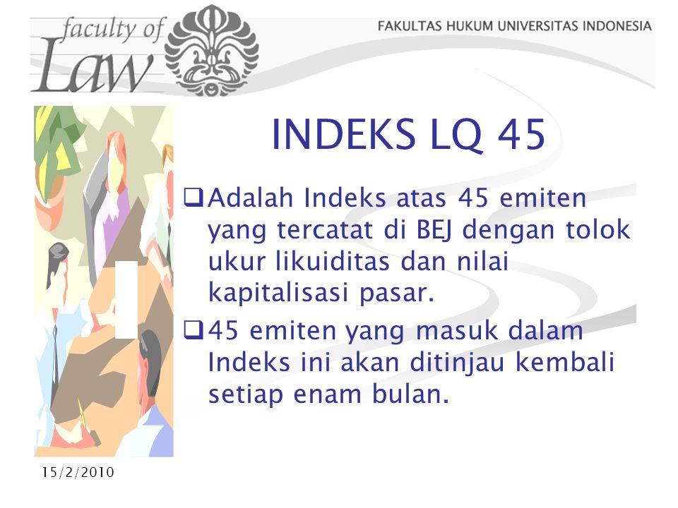 15/2/2010 INDEKS LQ 45  Adalah Indeks atas 45 emiten yang tercatat di BEJ dengan tolok ukur likuiditas dan nilai kapitalisasi pasar.  45 emiten yang