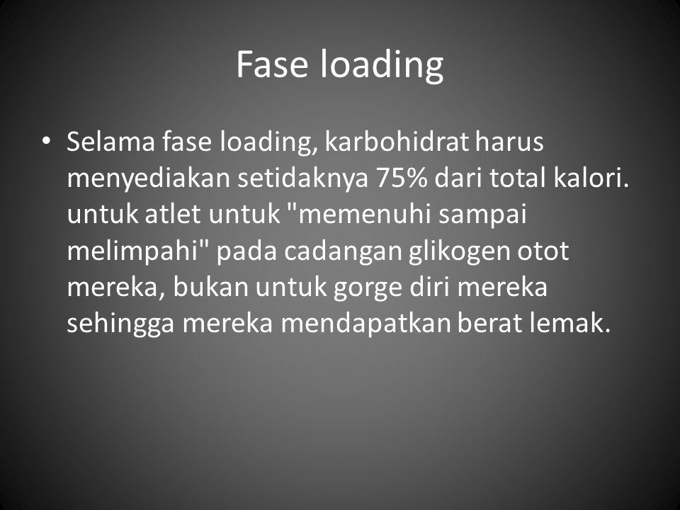 Fase loading Selama fase loading, karbohidrat harus menyediakan setidaknya 75% dari total kalori. untuk atlet untuk