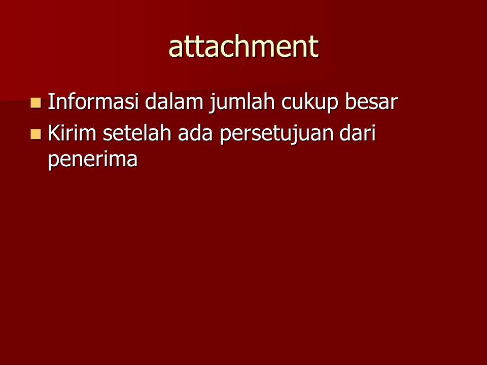 attachment Informasi dalam jumlah cukup besar Informasi dalam jumlah cukup besar Kirim setelah ada persetujuan dari penerima Kirim setelah ada persetujuan dari penerima