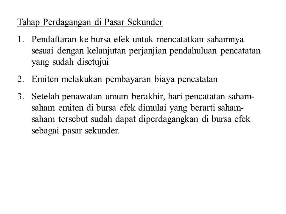 Tahap Perdagangan di Pasar Sekunder 1.Pendaftaran ke bursa efek untuk mencatatkan sahamnya sesuai dengan kelanjutan perjanjian pendahuluan pencatatan