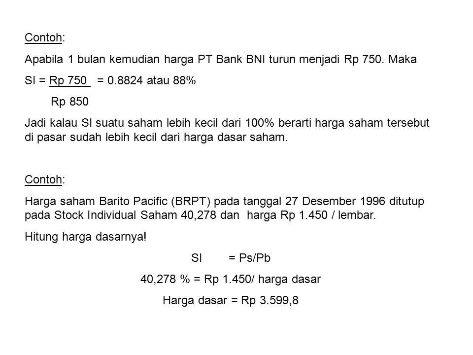 Contoh: Apabila 1 bulan kemudian harga PT Bank BNI turun menjadi Rp 750. Maka SI = Rp 750 = 0.8824 atau 88% Rp 850 Jadi kalau SI suatu saham lebih kec