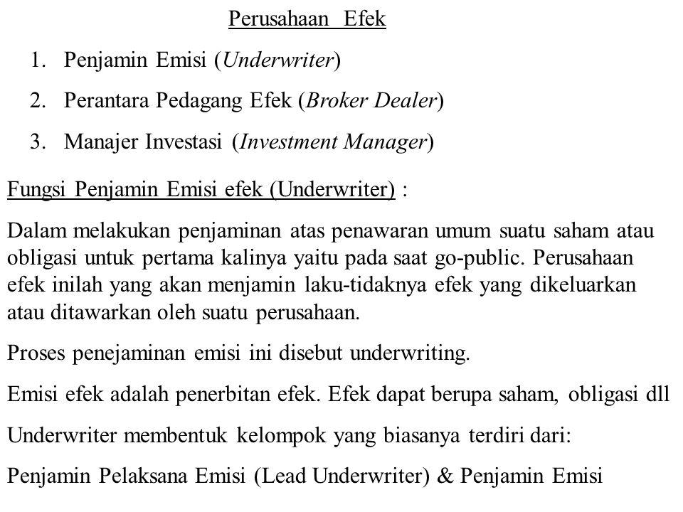Perusahaan Efek 1.Penjamin Emisi (Underwriter) 2.Perantara Pedagang Efek (Broker Dealer) 3.Manajer Investasi (Investment Manager) Fungsi Penjamin Emis