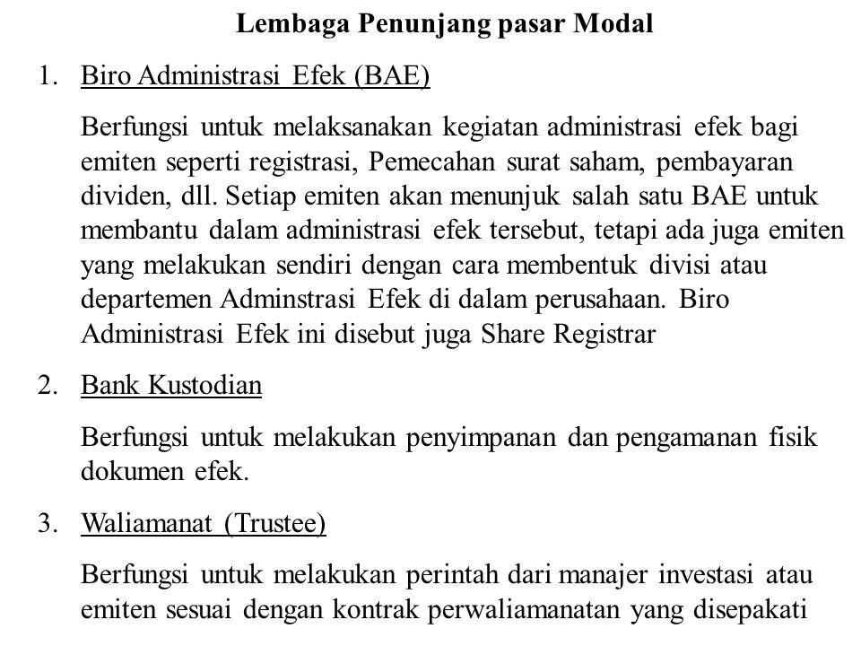 Lembaga Penunjang pasar Modal 1.Biro Administrasi Efek (BAE) Berfungsi untuk melaksanakan kegiatan administrasi efek bagi emiten seperti registrasi, P