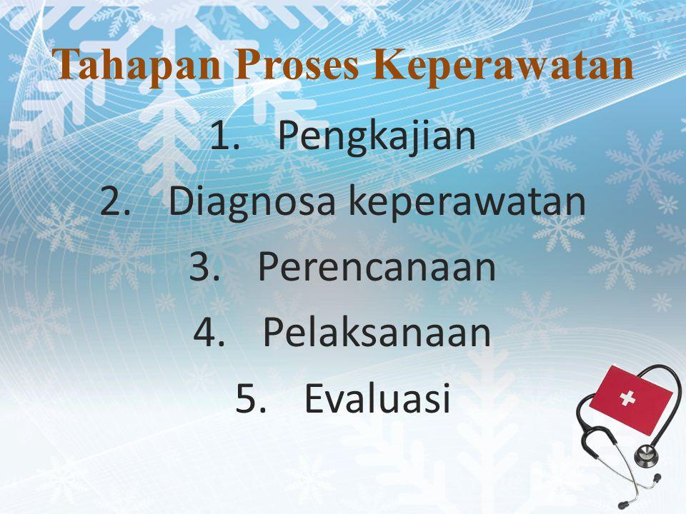 Tahapan Proses Keperawatan 1.Pengkajian 2.Diagnosa keperawatan 3.Perencanaan 4.Pelaksanaan 5.Evaluasi