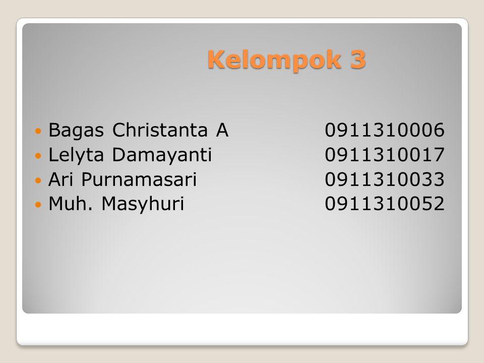 Kelompok 3 Bagas Christanta A0911310006 Lelyta Damayanti0911310017 Ari Purnamasari0911310033 Muh. Masyhuri0911310052