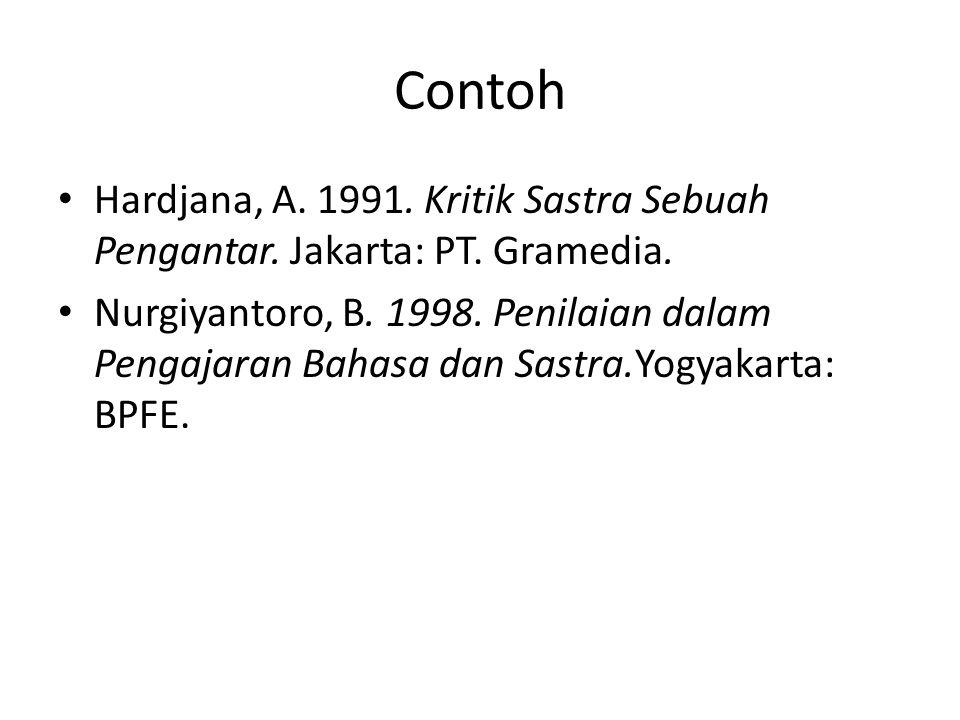 Contoh Hardjana, A. 1991. Kritik Sastra Sebuah Pengantar. Jakarta: PT. Gramedia. Nurgiyantoro, B. 1998. Penilaian dalam Pengajaran Bahasa dan Sastra.Y