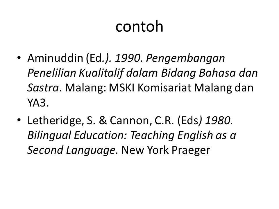contoh Aminuddin (Ed.). 1990. Pengembangan Penelilian Kualitalif dalam Bidang Bahasa dan Sastra. Malang: MSKI Komisariat Malang dan YA3. Letheridge, S