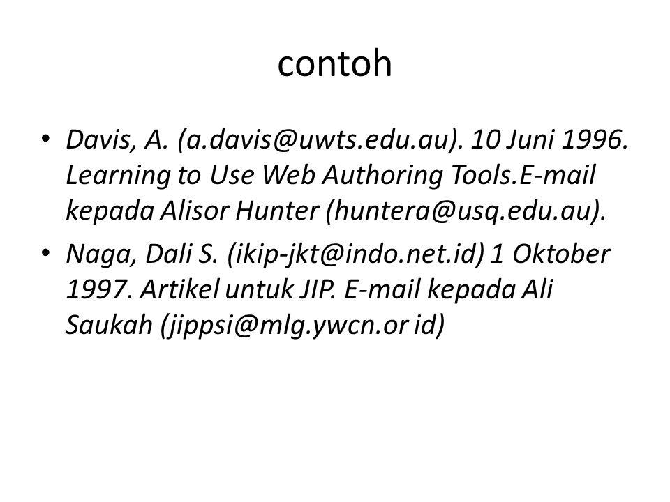 contoh Davis, A. (a.davis@uwts.edu.au). 10 Juni 1996. Learning to Use Web Authoring Tools.E-mail kepada Alisor Hunter (huntera@usq.edu.au). Naga, Dali