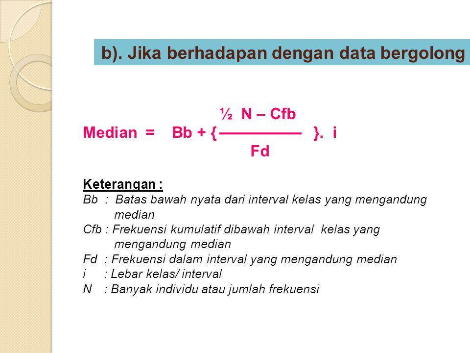 ½ N – Cfb Median = Bb + {}. i Fd Keterangan : Bb : Batas bawah nyata dari interval kelas yang mengandung median Cfb : Frekuensi kumulatif dibawah inte