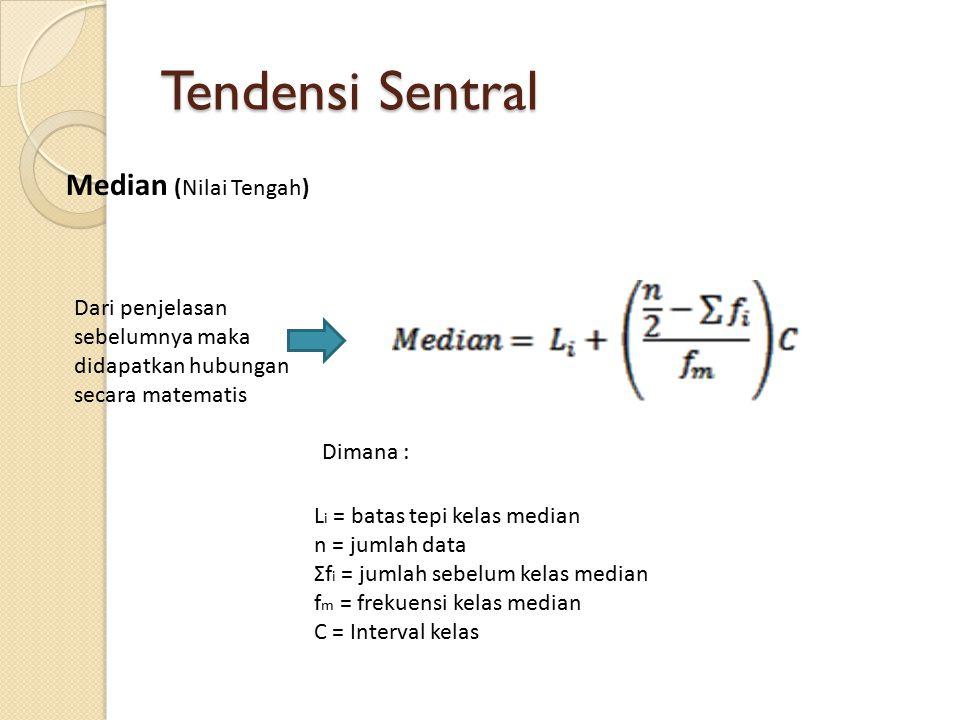Tendensi Sentral Median (Nilai Tengah) Dari penjelasan sebelumnya maka didapatkan hubungan secara matematis L i = batas tepi kelas median n = jumlah data Σf i = jumlah sebelum kelas median f m = frekuensi kelas median C = Interval kelas Dimana :