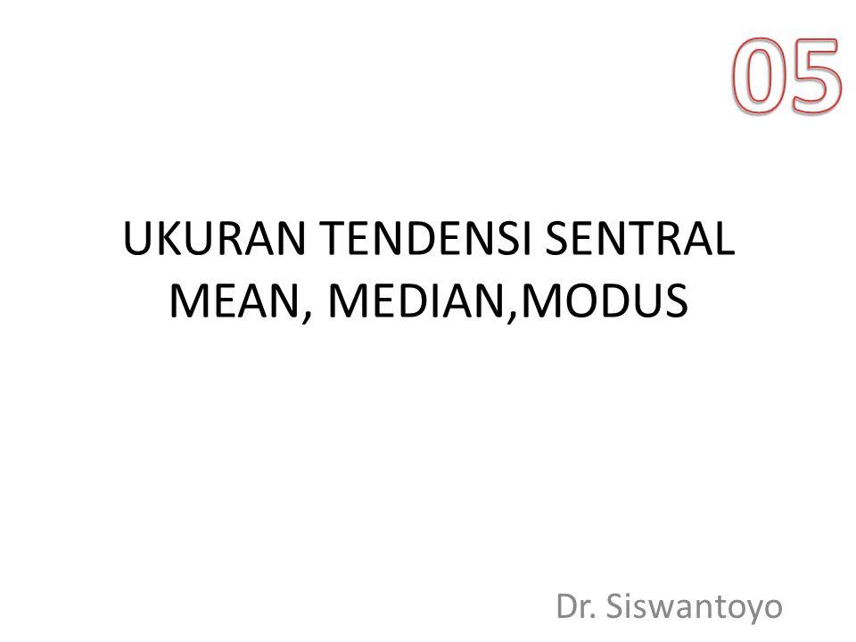 UKURAN TENDENSI SENTRAL MEAN, MEDIAN,MODUS Dr. Siswantoyo