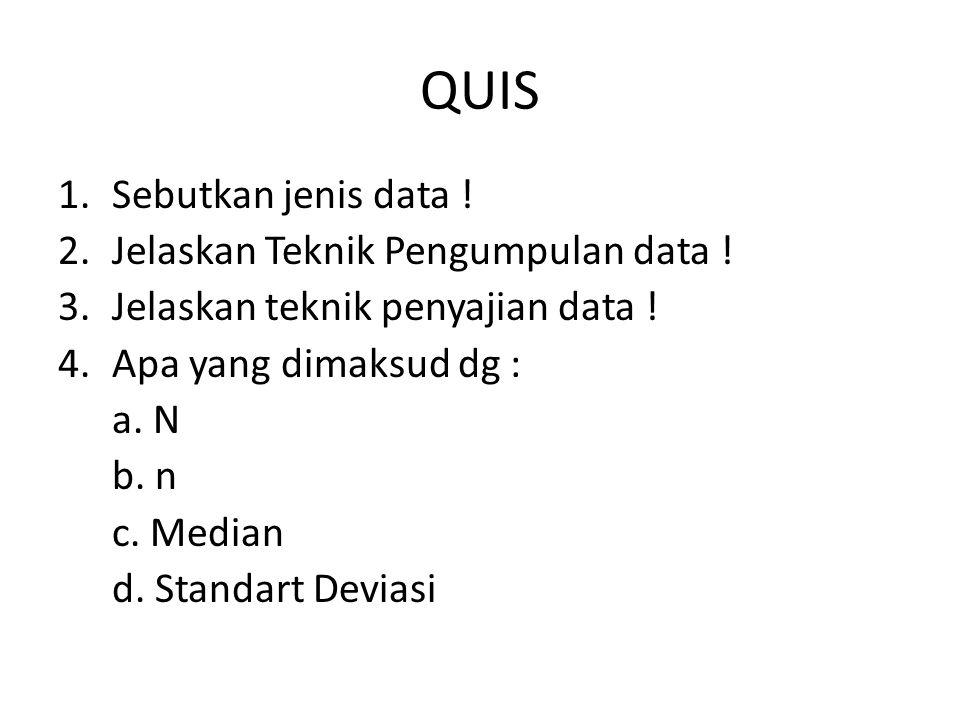 QUIS 1.Sebutkan jenis data ! 2.Jelaskan Teknik Pengumpulan data ! 3.Jelaskan teknik penyajian data ! 4.Apa yang dimaksud dg : a. N b. n c. Median d. S