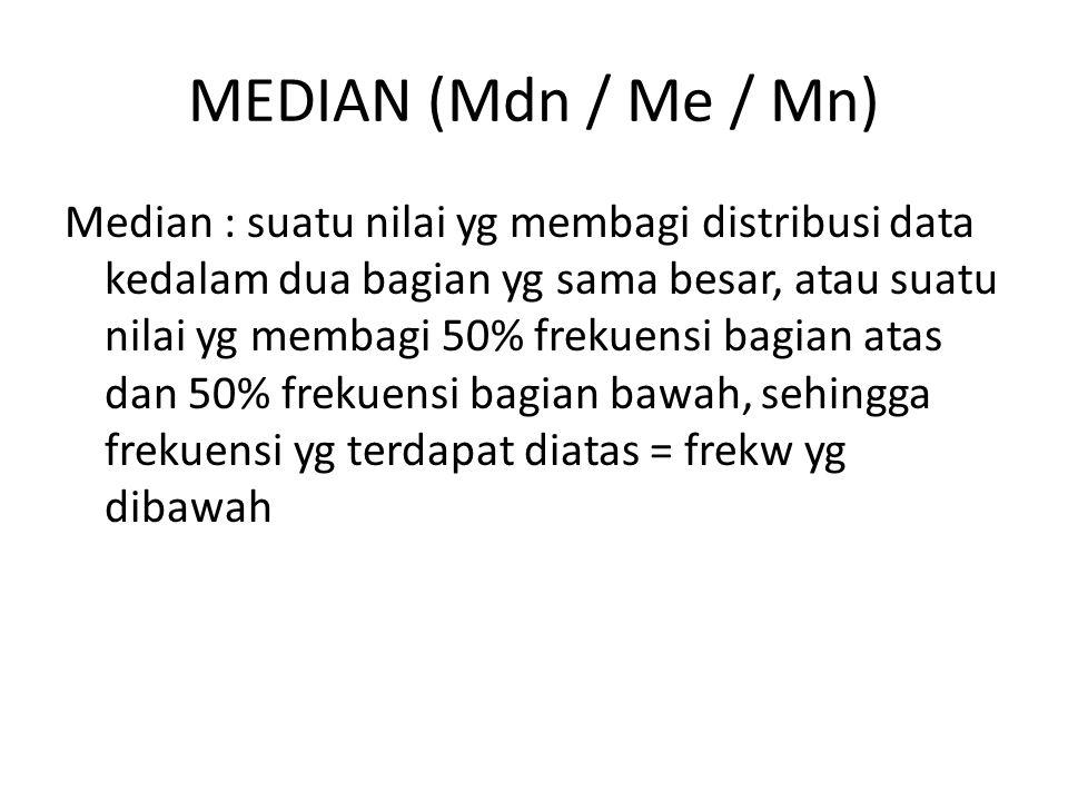 MEDIAN (Mdn / Me / Mn) Median : suatu nilai yg membagi distribusi data kedalam dua bagian yg sama besar, atau suatu nilai yg membagi 50% frekuensi bag