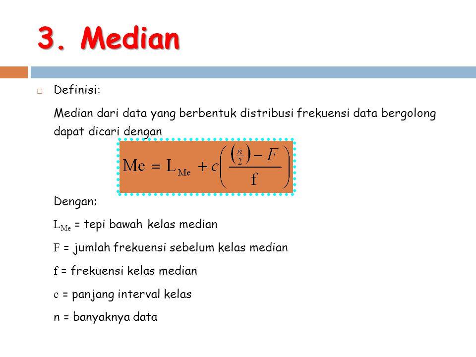 3. Median  Definisi: Median dari data yang berbentuk distribusi frekuensi data bergolong dapat dicari dengan Dengan: L Me = tepi bawah kelas median F