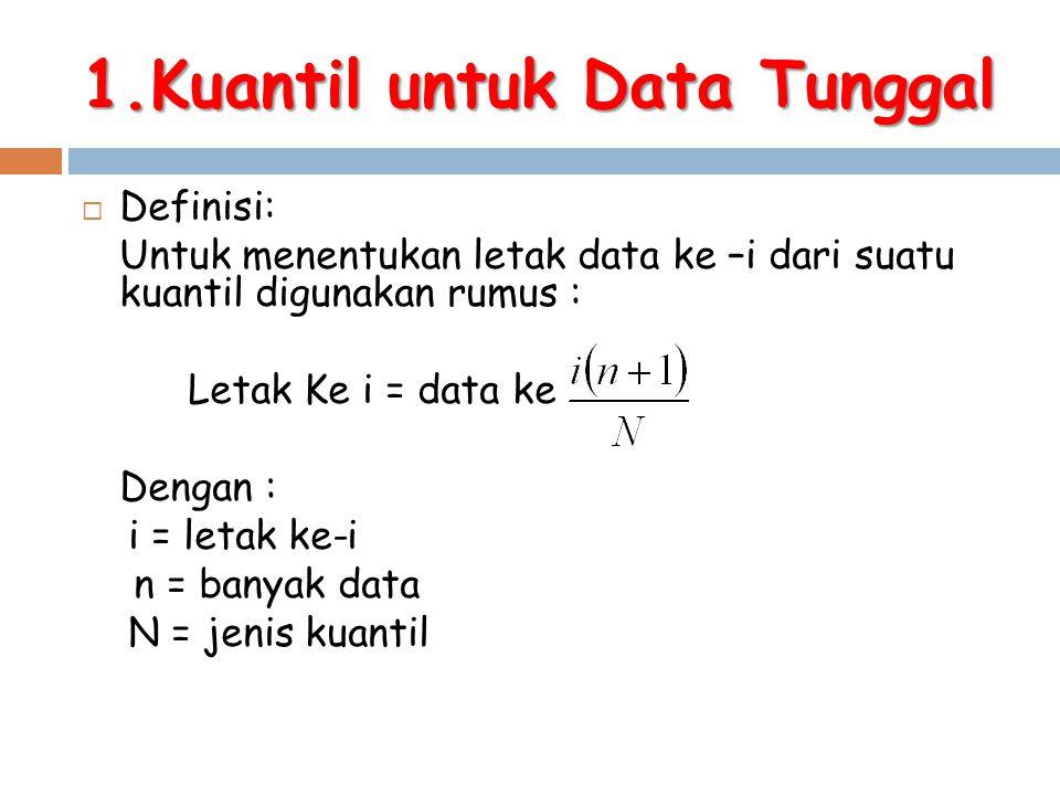 1.Kuantil untuk Data Tunggal  Definisi: Untuk menentukan letak data ke –i dari suatu kuantil digunakan rumus : Letak Ke i = data ke Dengan : i = leta