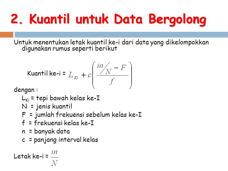 Untuk menentukan letak kuantil ke-i dari data yang dikelompokkan digunakan rumus seperti berikut Kuantil ke-i = dengan : L Ki = tepi bawah kelas ke-I