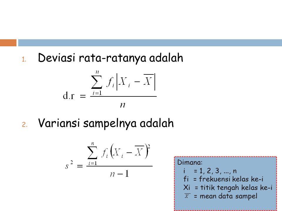 1. Deviasi rata-ratanya adalah 2. Variansi sampelnya adalah Dimana: i = 1, 2, 3,..., n fi = frekuensi kelas ke-i Xi = titik tengah kelas ke-i = mean d