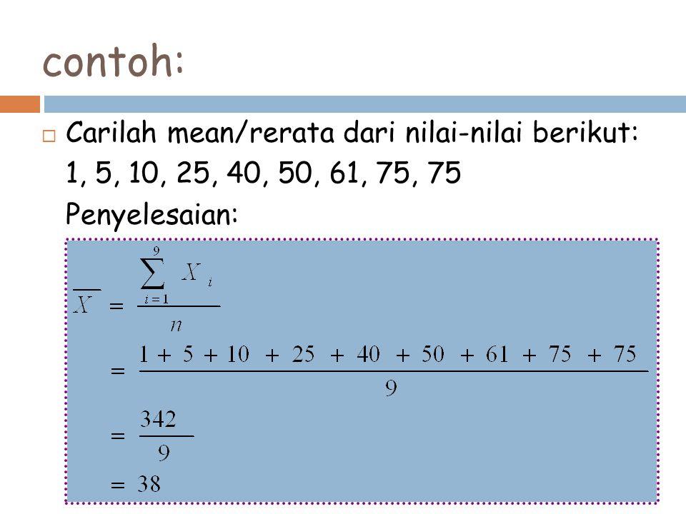 contoh:  Carilah mean/rerata dari nilai-nilai berikut: 1, 5, 10, 25, 40, 50, 61, 75, 75 Penyelesaian: