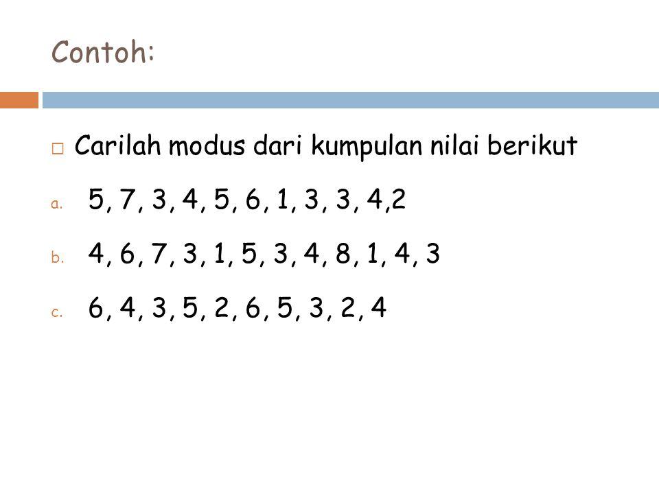 Contoh:  Carilah modus dari kumpulan nilai berikut a. 5, 7, 3, 4, 5, 6, 1, 3, 3, 4,2 b. 4, 6, 7, 3, 1, 5, 3, 4, 8, 1, 4, 3 c. 6, 4, 3, 5, 2, 6, 5, 3,