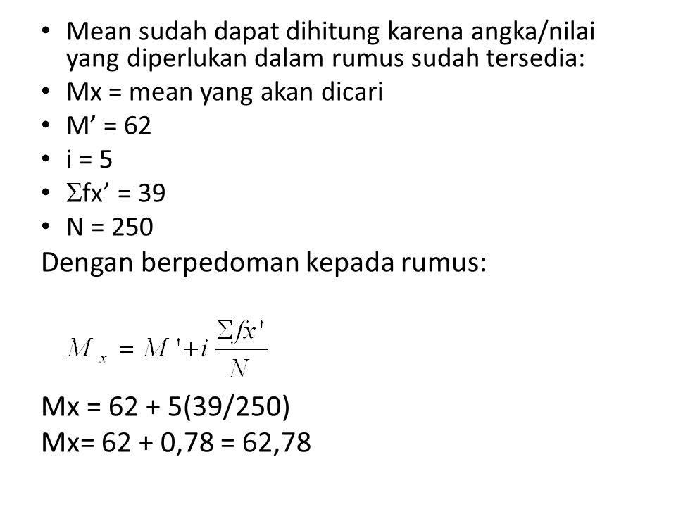 Mean sudah dapat dihitung karena angka/nilai yang diperlukan dalam rumus sudah tersedia: Mx = mean yang akan dicari M' = 62 i = 5  fx' = 39 N = 250 Dengan berpedoman kepada rumus: Mx = 62 + 5(39/250) Mx= 62 + 0,78 = 62,78