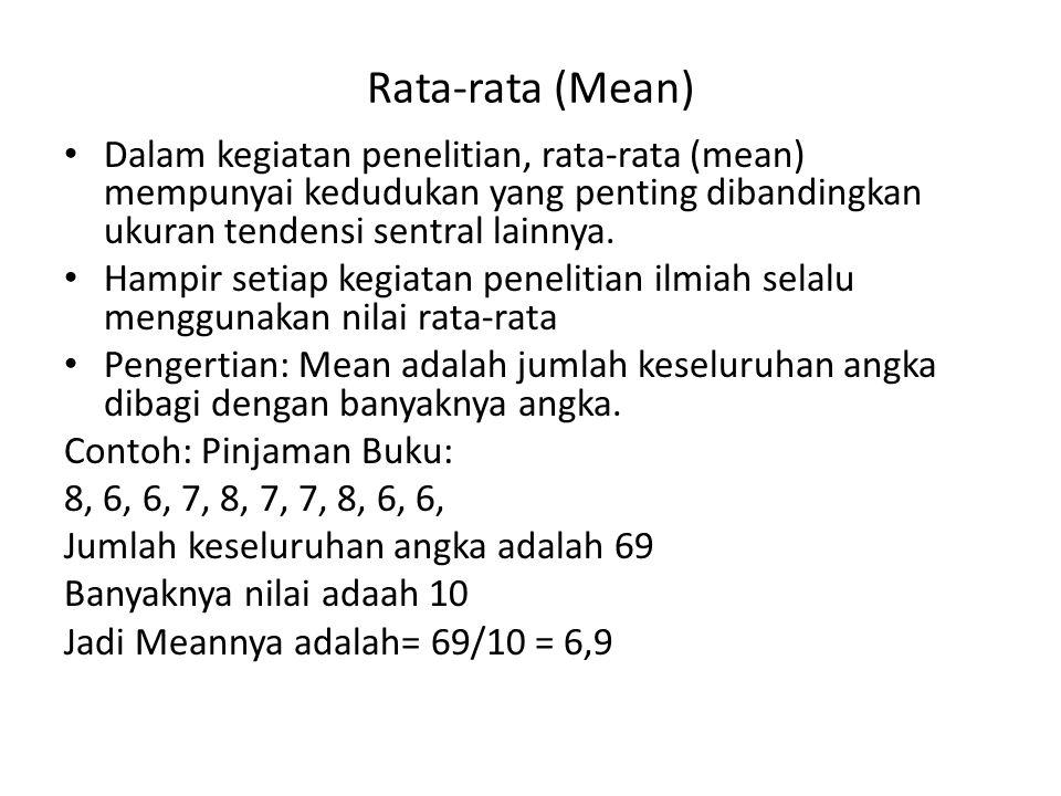 Rata-rata (Mean) Dalam kegiatan penelitian, rata-rata (mean) mempunyai kedudukan yang penting dibandingkan ukuran tendensi sentral lainnya. Hampir set
