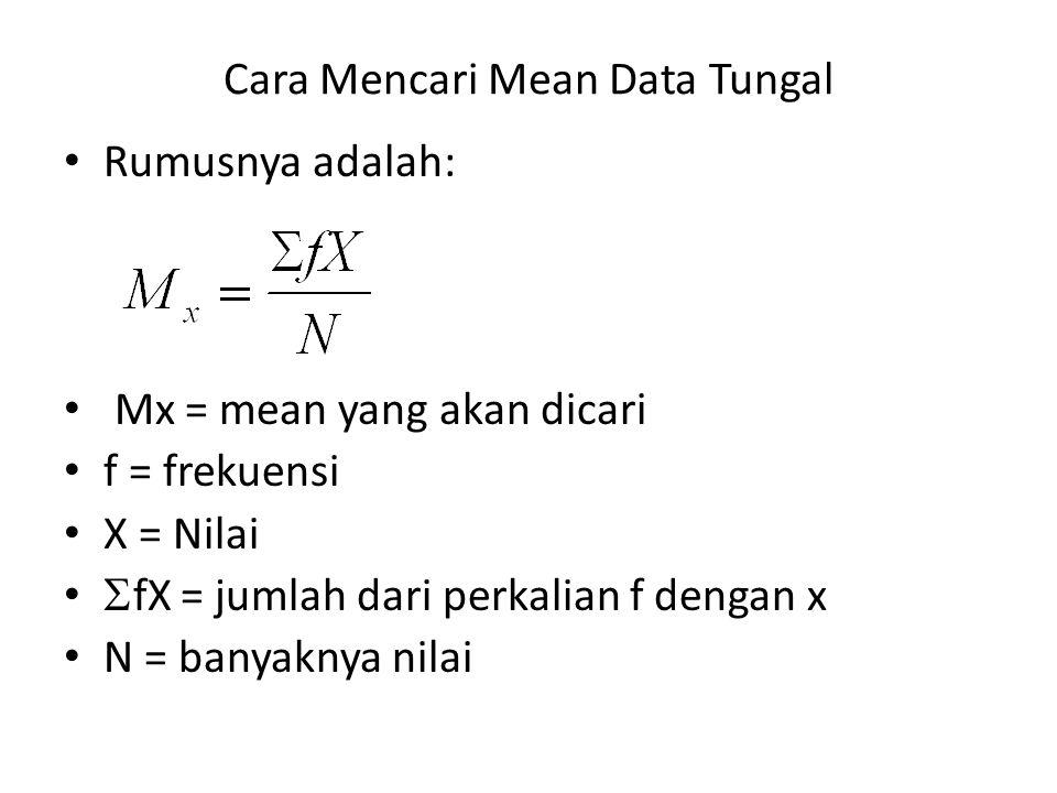 Cara Mencari Mean Data Tungal Rumusnya adalah: Mx = mean yang akan dicari f = frekuensi X = Nilai  fX = jumlah dari perkalian f dengan x N = banyakny