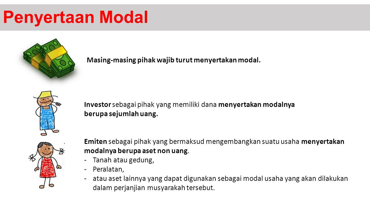 Penyertaan Modal Masing-masing pihak wajib turut menyertakan modal. Investor sebagai pihak yang memiliki dana menyertakan modalnya berupa sejumlah uan