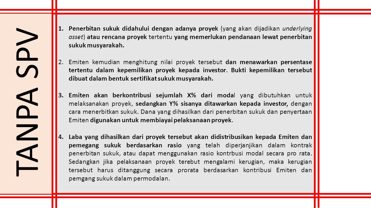 1.Penerbitan sukuk didahului dengan adanya proyek (yang akan dijadikan underlying asset) atau rencana proyek tertentu yang memerlukan pendanaan lewat