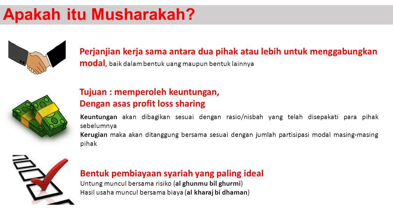 Apakah itu Musharakah? Keuntungan akan dibagikan sesuai dengan rasio/nisbah yang telah disepakati para pihak sebelumnya Kerugian maka akan ditanggung