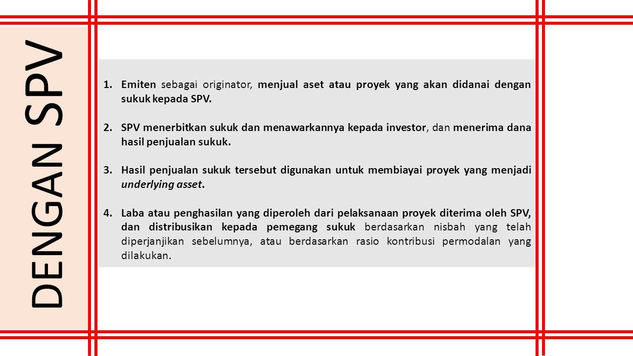 1.Emiten sebagai originator, menjual aset atau proyek yang akan didanai dengan sukuk kepada SPV. 2.SPV menerbitkan sukuk dan menawarkannya kepada inve