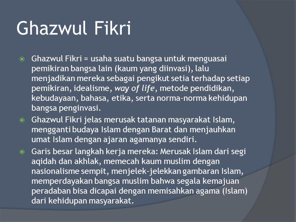 Ghazwul Fikri  Ghazwul Fikri = usaha suatu bangsa untuk menguasai pemikiran bangsa lain (kaum yang diinvasi), lalu menjadikan mereka sebagai pengikut