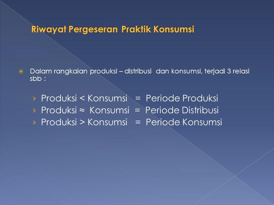  Dalam rangkaian produksi – distribusi dan konsumsi, terjadi 3 relasi sbb : › Produksi < Konsumsi = Periode Produksi › Produksi ≈ Konsumsi = Periode