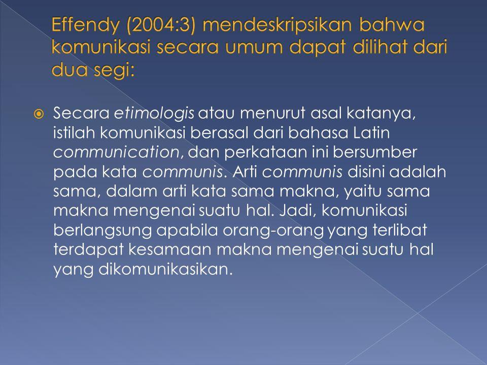  Secara terminologis, komunikasi berarti proses penyampaian suatu pernyataan oleh seseorang kepada orang lain.