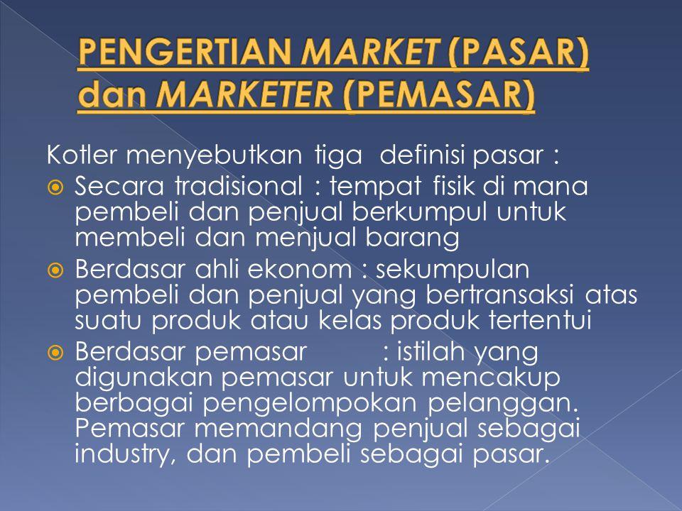 Kotler menyebutkan tiga definisi pasar :  Secara tradisional : tempat fisik di mana pembeli dan penjual berkumpul untuk membeli dan menjual barang 