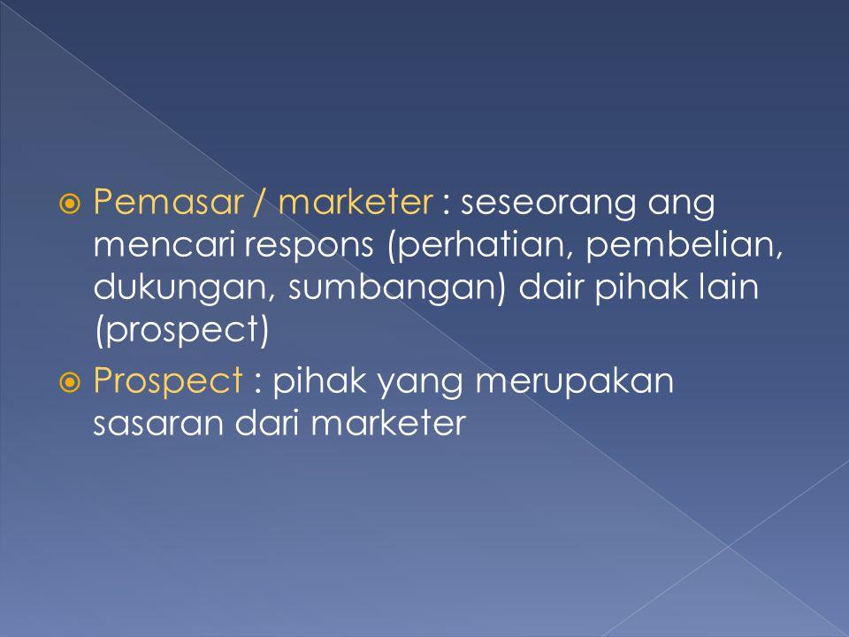  Pemasar / marketer : seseorang ang mencari respons (perhatian, pembelian, dukungan, sumbangan) dair pihak lain (prospect)  Prospect : pihak yang me