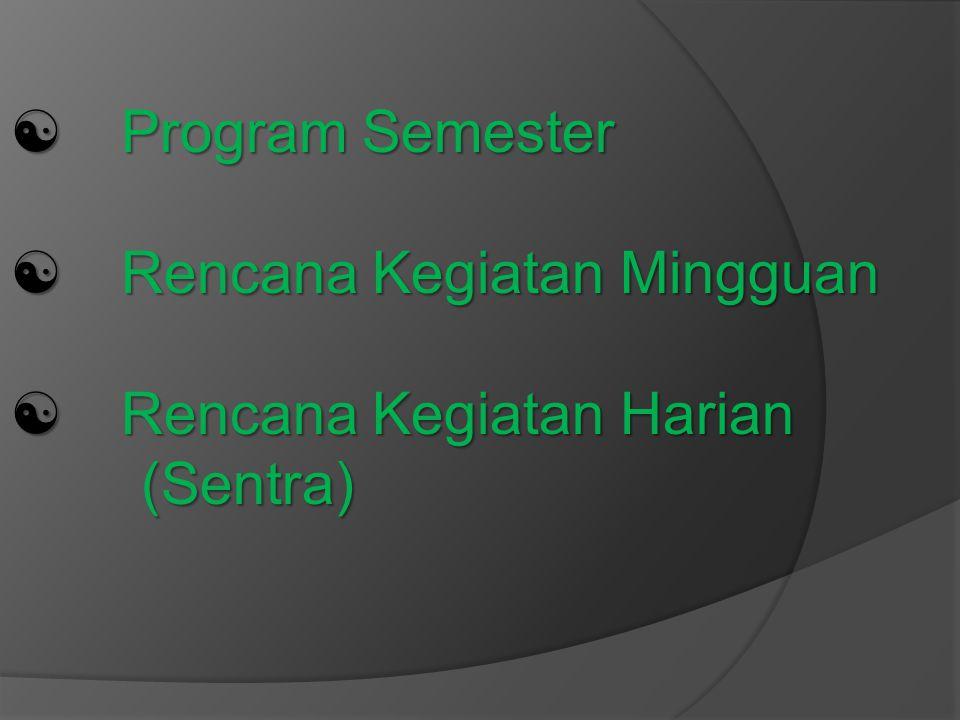  Program Semester  Rencana Kegiatan Mingguan  Rencana Kegiatan Harian (Sentra)