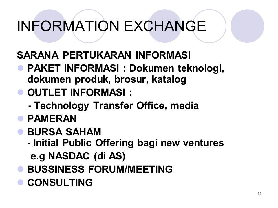 11 INFORMATION EXCHANGE SARANA PERTUKARAN INFORMASI PAKET INFORMASI : Dokumen teknologi, dokumen produk, brosur, katalog OUTLET INFORMASI : - Technology Transfer Office, media PAMERAN BURSA SAHAM - Initial Public Offering bagi new ventures e.g NASDAC (di AS) BUSSINESS FORUM/MEETING CONSULTING
