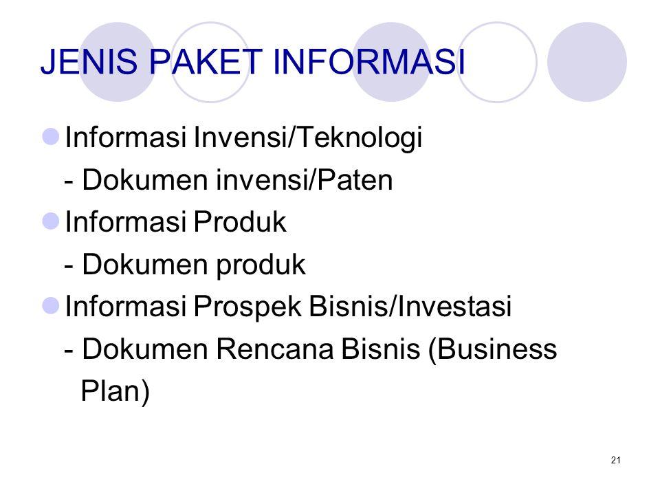 21 JENIS PAKET INFORMASI Informasi Invensi/Teknologi - Dokumen invensi/Paten Informasi Produk - Dokumen produk Informasi Prospek Bisnis/Investasi - Dokumen Rencana Bisnis (Business Plan)
