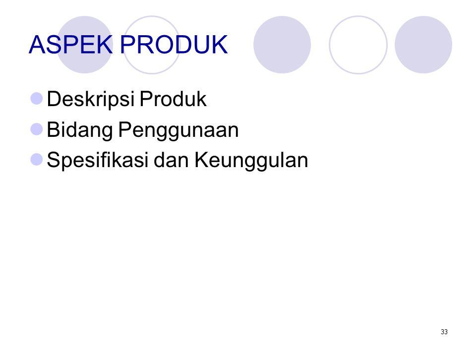 33 ASPEK PRODUK Deskripsi Produk Bidang Penggunaan Spesifikasi dan Keunggulan